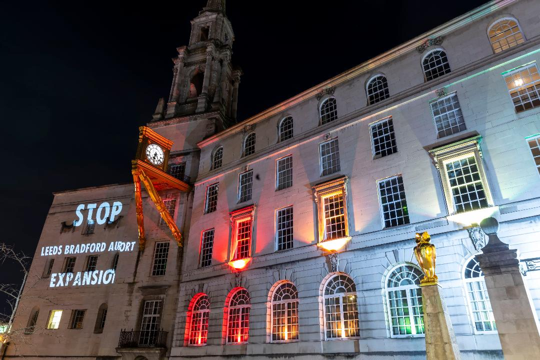 Leeds Council Building with slogans projected